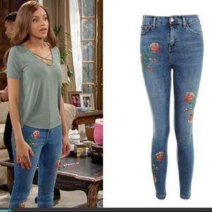 Topshop Jamie floral embroided jeans